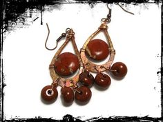 Hammered Copper and Picture Jasper Earrings Red Stones Wire Wrapped | ChristinaKosinskiDesigns - Jewelry on ArtFire