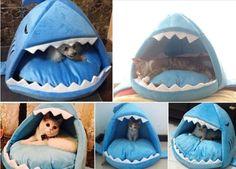 Nueva Moda acogedor cachorro de Perro Gato Azul Shark Casa para pequeñas y medianas Mascotas Cama