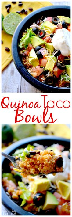 Quinoa Taco Bowls Lemon Tree Dwelling Just made for the kids and they LOVED it.didn't have olives or beans but put blue corn tacos in Healthy Cooking, Healthy Eating, Cooking Recipes, Healthy Food, Mexican Food Recipes, Vegetarian Recipes, Healthy Recipes, Free Recipes, Vegan Recipes For Kids