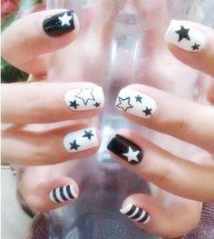 Cute Star Nails | See more nail designs at http://www.nailsss.com/...