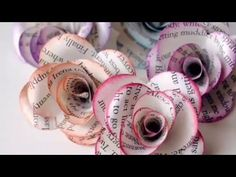HOW TO DIY ROLLED PAPER ROSES WREATH, newsprint, book pages, paper crafts - YouTube
