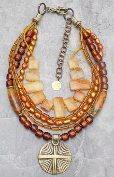 Amber Glass, Yellow Jade, Copper Pearl, Agate & Brass Pendant Necklace
