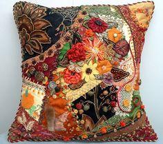 I ❤ crazy quilting Crazy Quilting, Crazy Quilt Stitches, Crazy Quilt Blocks, Crazy Patchwork, Ribbon Embroidery, Embroidery Stitches, Embroidery Ideas, Fall Pillows, Art Textile