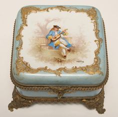 French Handpainted and Gilt Porcelain Dresser Box