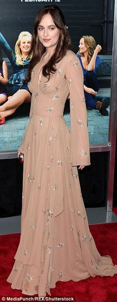 Ethereal: Dakota's lightly flowing gown featured embroidered details throughout...