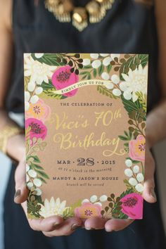 To celebrate a very awesome birthday, the ladies of Little Miss Party hosted a surprise garden brunch for their gorgeous mom. And from first glance at the botanical invite to a table decked. 90th Birthday Parties, Birthday Brunch, Brunch Invitations, Wedding Invitations, Vintage Birthday Invitations, Garden Party Invitations, Invitation Birthday, Floral Invitation, Invitation Design