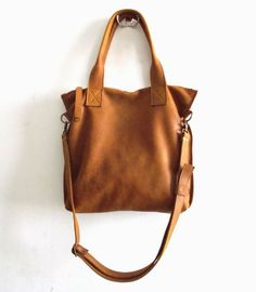 Brown leather tote  Handbag  Cross-body bag  Every day by Smadars