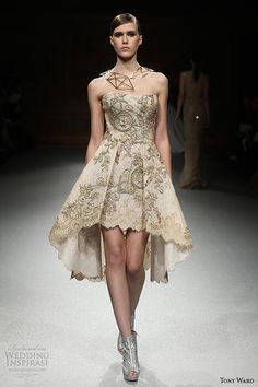 tony ward couture spring summer 2015 runway strapless short dress gold champagne color