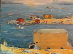Newfoundland Collection 141 by Louis Engelhart - Louis J. Vancouver School, Canadian Painters, Beauty In Art, City Painting, Newfoundland And Labrador, Commercial Art, Landscape Paintings, Landscapes, Illustration Art
