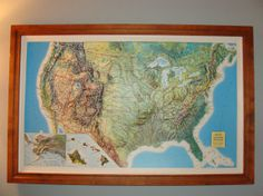Original S Large Vintage French Educational School Wall Chart - Us map framed