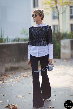 classic button down shirt with flared jeans Moda Fashion 30fa1703d53b0