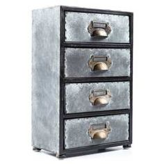 Antique Gray 4-Drawer Zinc Cabinet | Hobby Lobby