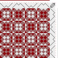 draft image: Threading Draft from Divisional Profile, Tieup: Draft #3, 8S, 8T Weaving Designs, Weaving Projects, Weaving Patterns, Mosaic Patterns, Knitting Patterns, Knitting Tutorials, Stitch Patterns, Inkle Weaving, Inkle Loom