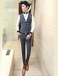 Men's Fashion Plaid Waistcoat Suits