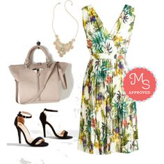 In this outfit: Flora Once in My Life Dress, Gleam Weaver Necklace, Rite of Passion Bag, Girl's Night Game Plan Heel #dresses #summer #tropical #vintage #ModCloth #ModStylist #fashion