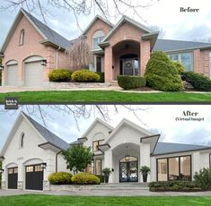 We went for a sophisticated yet timeless aesthetic. We updated the surface of the house with a few monochromatic shade o Home Exterior Makeover, Exterior Remodel, Ranch Exterior, Style At Home, Exterior Colors, Exterior Design, Exterior Paint, House Makeovers, Outdoor Living