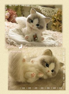 Needle felted cat by LeoRai ya from Japan #feltedcat