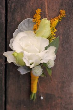 October, featuring lisianthus, gomphrena, solidago, and dusty miller