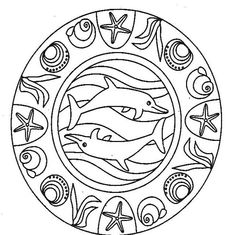 Mandala con i delfini da stampare e da colorare gratis