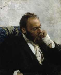 Ilya Repin (1844-1930) Portrait of Professor Ivanov. Large high res image - follow link to see brushstrokes.