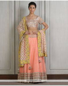 DE Angelic Peach Lehenga With Sequin Blouse Glimpse Of Yellow And Golden