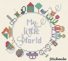 Stickeules Freebies: My little world pattern / chart for cross stitch, alpha pattern, crochet, knitting, knotting, beading, weaving, pixel art, and other crafting projects.