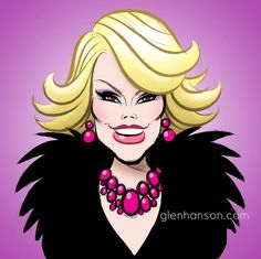 One of the great trailblazers and comedy icons, Joan Rivers artwork by Glen Hanson Cartoon Faces, Funny Faces, Cartoon Drawings, Cartoon Art, Pencil Drawings, Funny Caricatures, Celebrity Caricatures, Celebrity Drawings, Celebrity Portraits