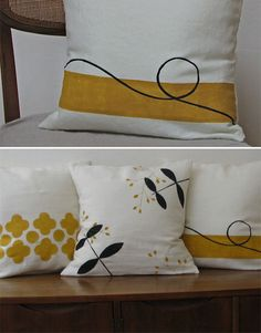 I love how simple they are! Hand-Printed Pillows @ L. I love how simple they are! Cushion Covers, Pillow Covers, Diy Pillows, Throw Pillows, Hand Painted Fabric, Fabric Stamping, Tampons, Textile Prints, Fabric Painting
