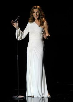 Celine Dion Lookbook: Celine Dion wearing Armani Prive Evening Dress (79 of 109). Celine shined in a strapless curve-hugging gown with large clear paillettes on stage in Las Vegas.