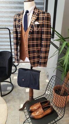 Mens Fashion Suits, Mens Suits, Fashion Outfits, Plaid Suit, Suit Vest, Baby Clothes Patterns, Clothing Patterns, Mens Tights, Formal Suits