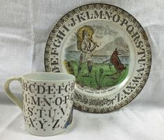 Staffordshire Polychrome Childs Alphabet Plate Mug Crusoe Finding Foot Prints | eBay