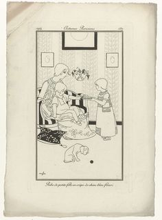 Anonymous | Journal des Dames et des Modes, Costumes Parisiens,  1914, No. 137 : Robe de petite fille..., Anonymous, 1914 | Klein meisje in een japon van blauwe 'crêpe de chine' met bloempatroon. Op de bank zit een vrouw met een kind op schoot. Op de voorgrond een hond met bal. Proefdruk van een prent uit het modetijdschrift Journal des Dames et des Modes (1912-1914).