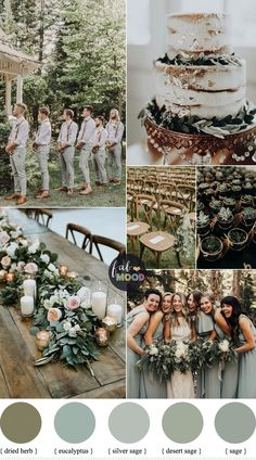 Sage wedding colors { Sage green wedding theme } - Looking for a wedding colour that refreshi. Sage wedding colors { Sage green wedding theme } - Looking for a wedding colour that refreshing? Wedding Color Combinations, Wedding Color Schemes, Color Combos, Grey Wedding Colors, Green Wedding Themes, Colour Schemes, Spring Wedding Themes, Wedding Colora, Autumn Wedding Colors