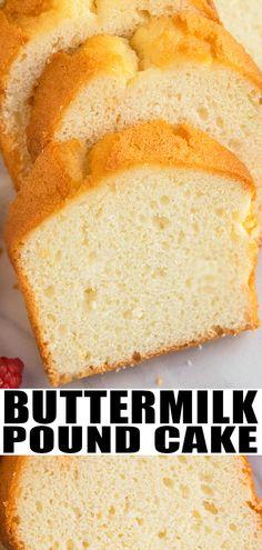 Buttermilk Pound Cake {From Scratch} - - Dessert Bread Recipes Easy Pound Cake, Pound Cake Recipes, Easy Cake Recipes, Best Dessert Recipes, Cupcake Recipes, Cheesecake Recipes, Baking Recipes, Homemade Pound Cake, Pound Cake Recipe For Loaf Pan