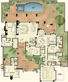 Tucson Custom Home - Hacienda Floor Plan A Courtyard doesn't have to be a square block in the middle of the home.