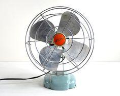Vintage Electric Fan / Small Retro Desk Fan / Industrial Decor