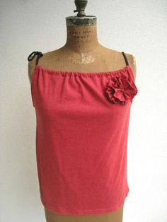 NEW...Heather Red T Shirt Tank Top / Tee Flower / Upcycle Tee / by ohzie