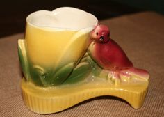 Vintage Mid Century Red Bird Yellow Flower by AstridsPastTimes, $23.99