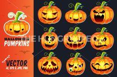 Halloween Pumpkins Set By Pixaroma