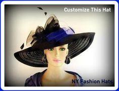 1efab7f0e1d Black Wide Brim Custom Ladies Hat Women s Church KentuckyDerby