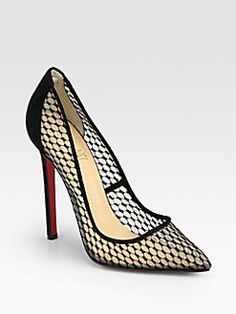 Christian Louboutin - Pigaresille Lace & Suede Pumps
