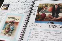 "#Art Journal Pages - this is how my ""real"" journaling (writing in a journal) ended up looking too! I am happiest with a glue stick, images and words - soul food!"