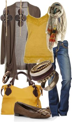 Pretty yellow and brown outfit, accessories too Mode Outfits, Casual Outfits, Fashion Outfits, Womens Fashion, Fall Outfits, Fashion Tips, Style Work, Mode Style, Mode Jeans