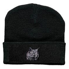 Hip-Hop-Mütze, Strickmütze, schwarz mit Einstickung - Katze, Cat