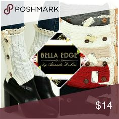 🆕 Adorable button lace trim legwarmers Keep warm and stylish in these button detail, lace trim legwarmers. Available in gray, white, beige, wine red, and black - all with light beige lace trim. One size fits all. Bella Edge Boutique Accessories