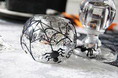 spider web votive, spooky spider halloween | Be Envied Entertaining