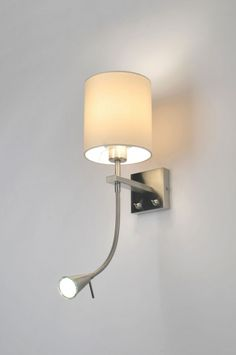 Wandlamp 84339: Modern, Staal , Rvs, Stofhttp://www.rietveldlicht.nl/artikel/wandlamp-84339-modern-staal_-_rvs-stof-wit-rond-vierkant