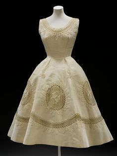 c.1950-55 Balmain silk grosgrain evening dress