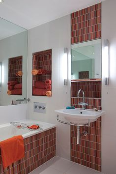 Orange and red bathroom