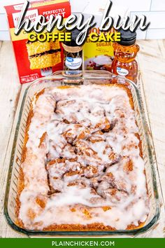 Honey Bun Coffee Cake -Super moist cake swirled with cinnamon and honey and covered in a vanilla glaze. Super easy to make with only a few simple ingredients. Cake mix, sour cream, oil, eggs, honey, brown sugar, cinnamon, powdered sugar, and vanilla. It tastes like a cinnamon roll but in cake form! Great for breakfast, potlucks, and dessert. This easy cake recipe is sure to become a family favorite! #breakfast #coffeecake #dessert #honey Honey Bun Cake, Cinnamon Bun Cake, Honey Buns, Cinnamon Rolls, Breakfast Cake, Breakfast Dishes, Breakfast Recipes, Breakfast Potluck, Easy Cake Recipes